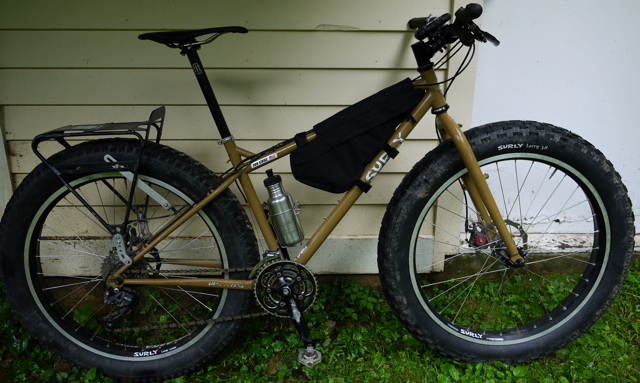small Surly Pugsley with modified Jandd frame pack